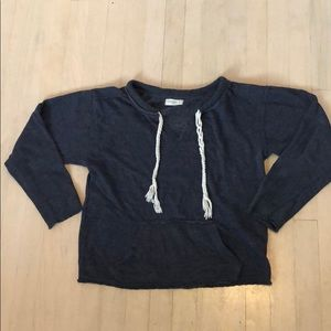 Blue crew v-neck sweatshirt